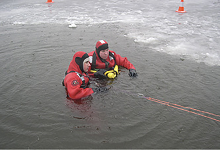 Ice rescue team members in the water