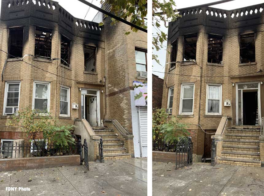 Fire scene at 783 Burke Avenue in the Bronx