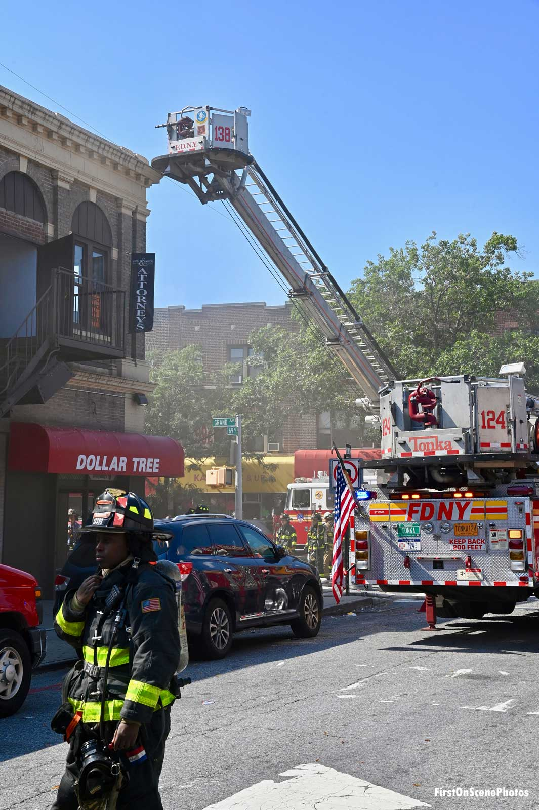 FDNY tower ladder at the scene of the fire