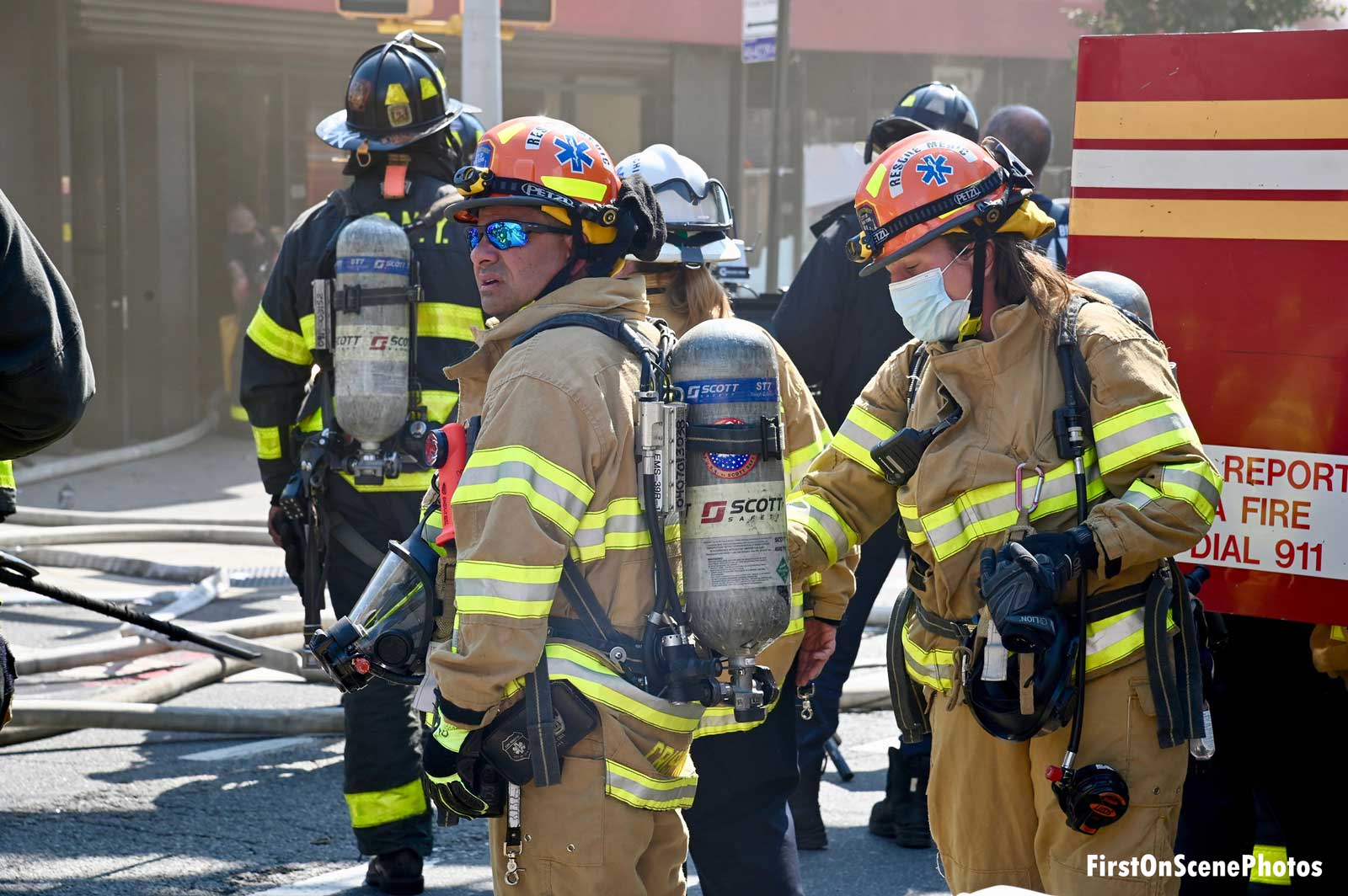 Firefighters on scene at the fire
