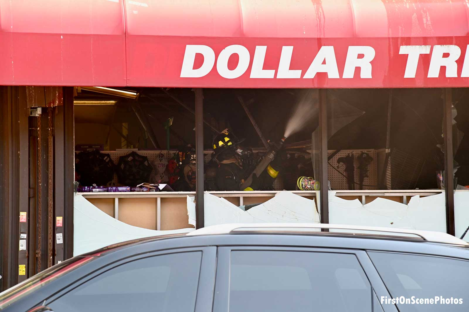 """Interior of a """"dollar store"""" on fire"""