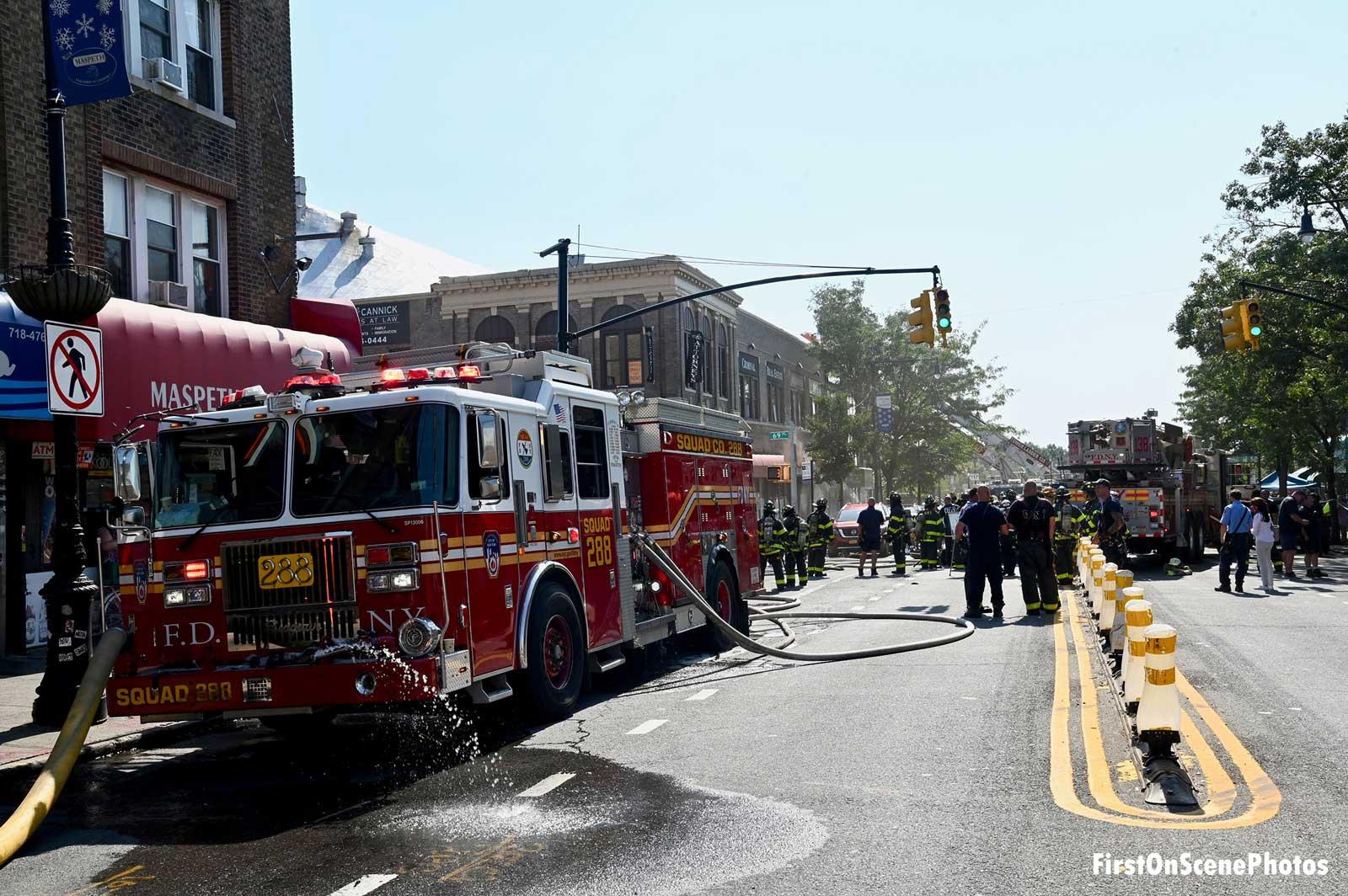 FDNY apparatus at fire scene