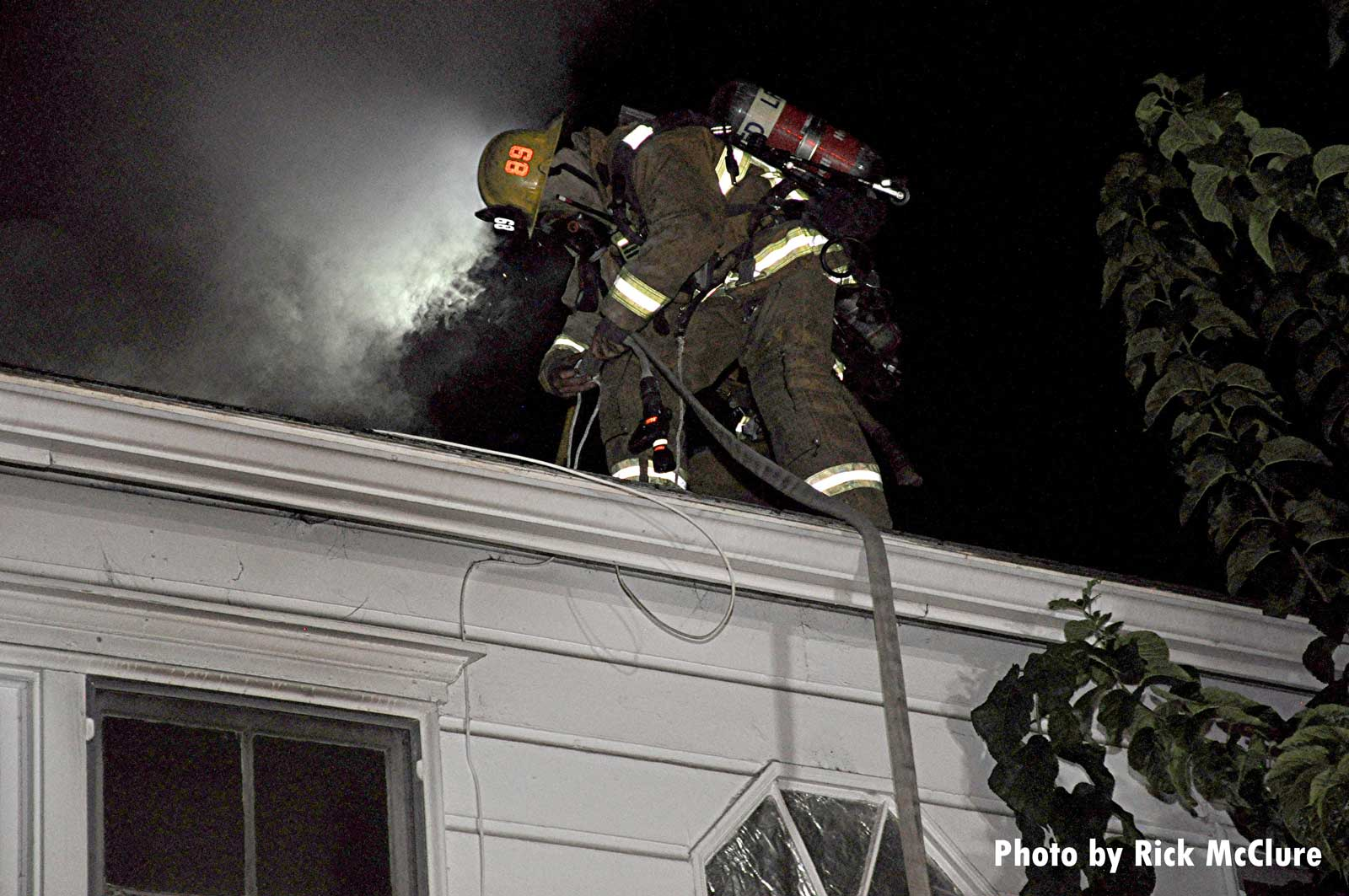 LAFD firefighter on the roof