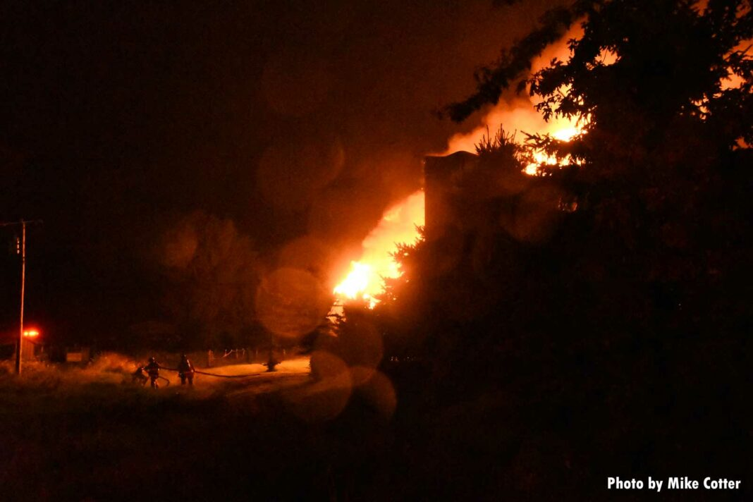 Firefighters on scene as flames rip through barn
