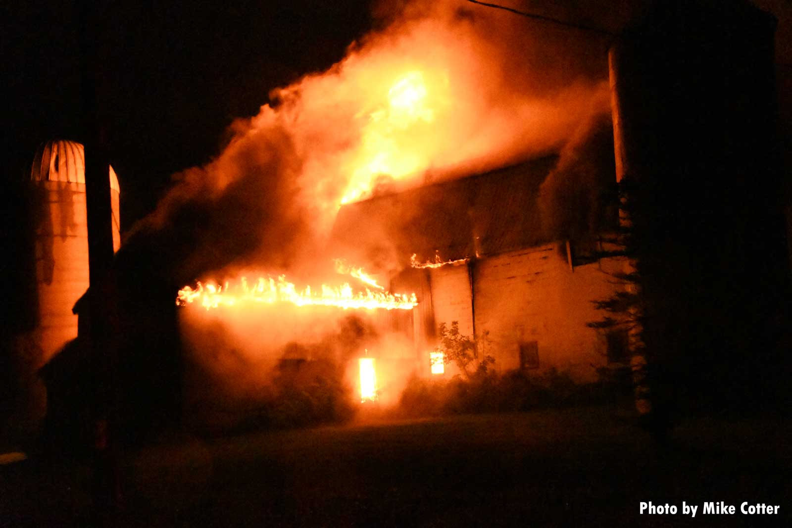 Fire in a barn structure