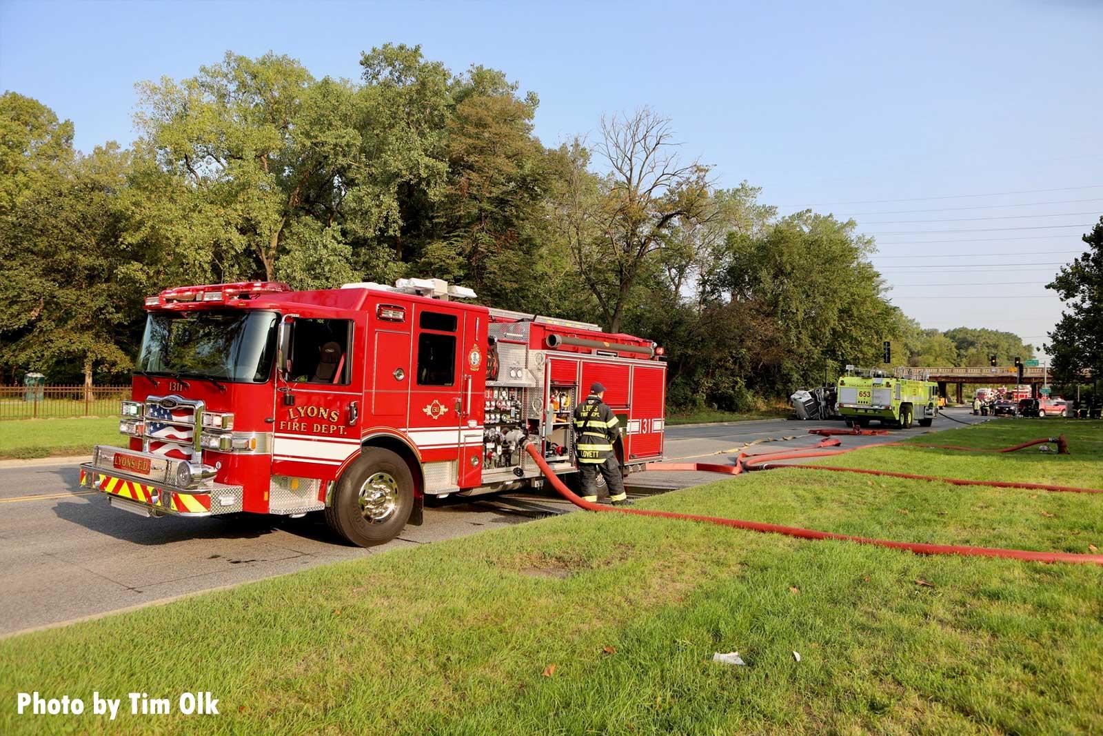 Fire truck at rollover scene