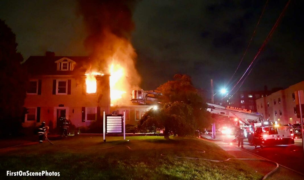 Firefighters respond to a fire in Hempstead, New York