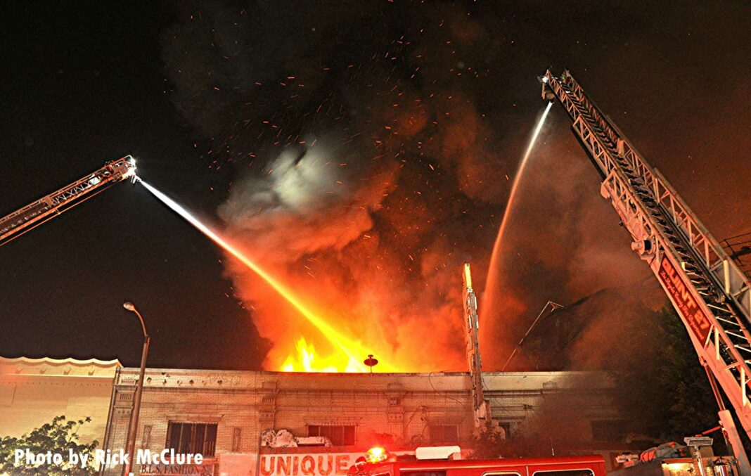 Multiple elevated streams poured on the fire