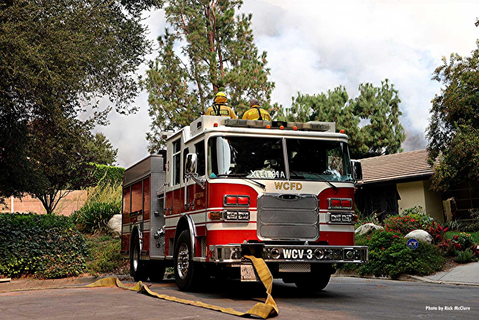 Fire apparatus near a home