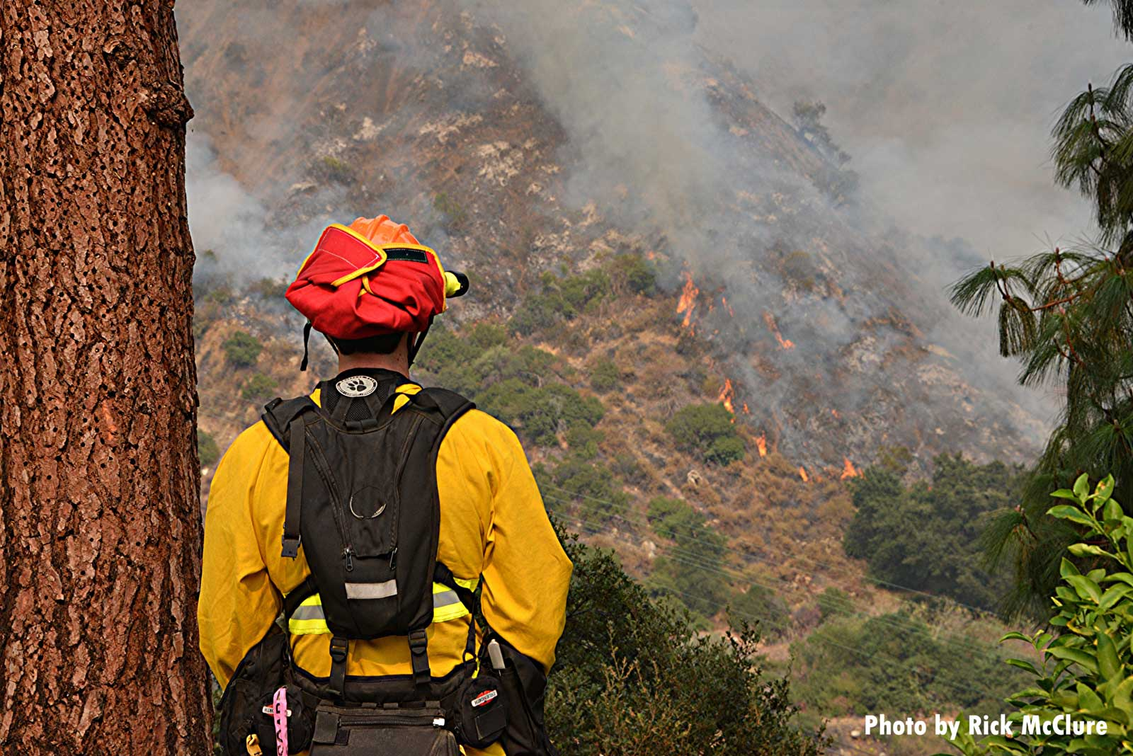 A firefighter looks out across the California landscape as Bobcat Fire continues to burn