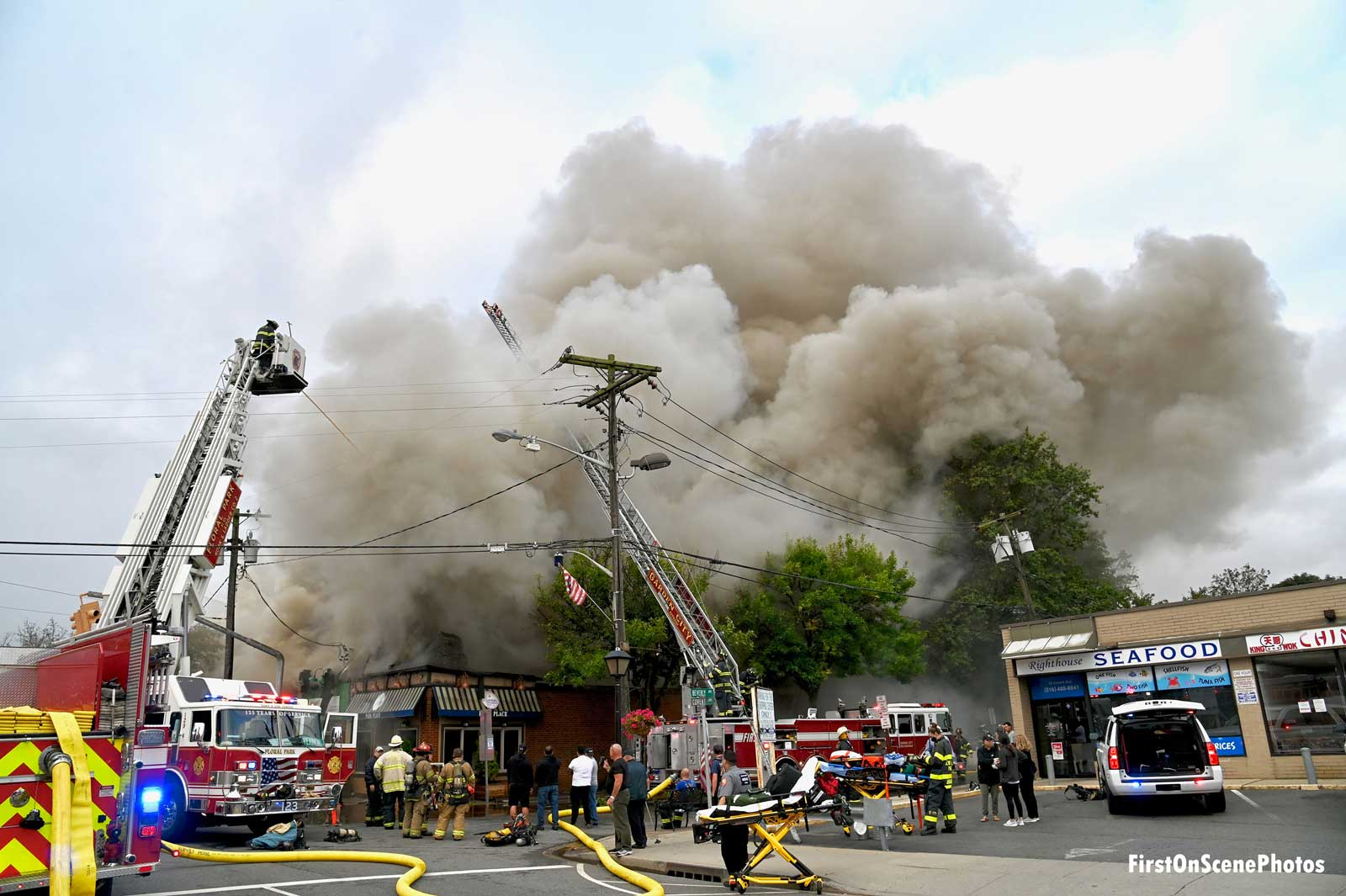 Smoke rises from a taxpayer fire on Long Island