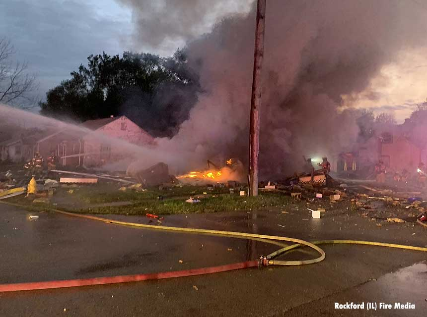Rockford firefighters at the scene of a deadly home explosion