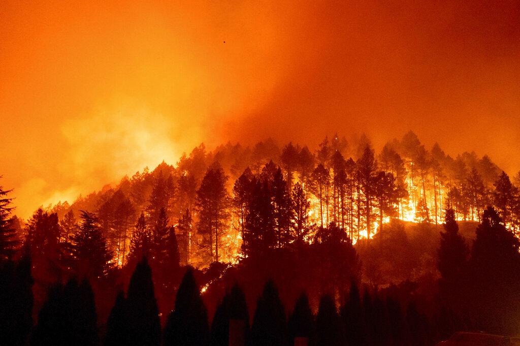 The Glass Fire burns a hillside