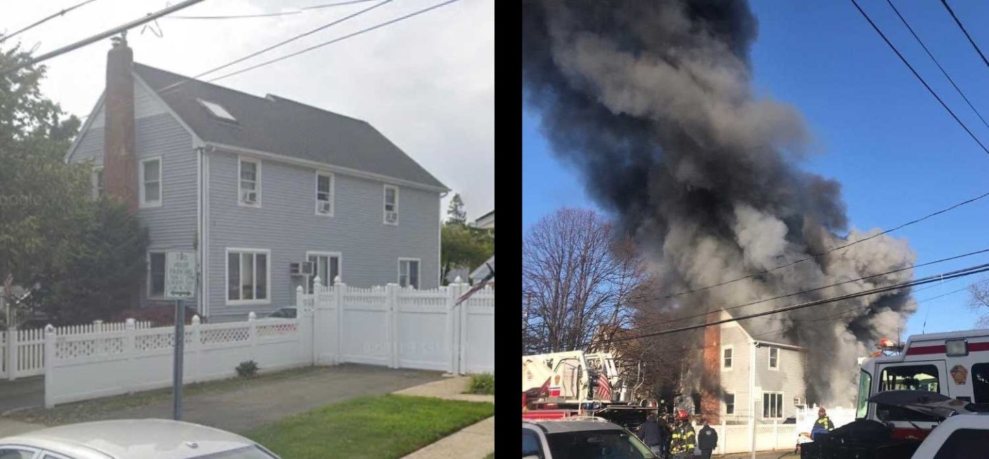 Balloon frame dwelling before and after fire