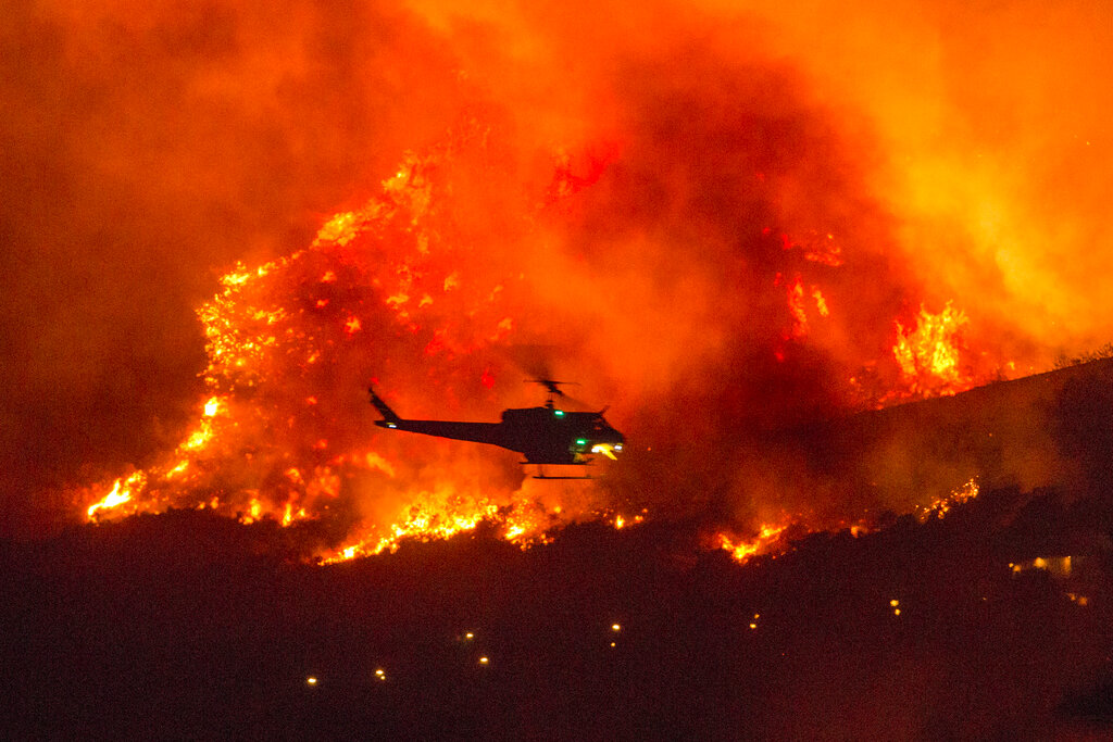 Helicopter at California wildfire