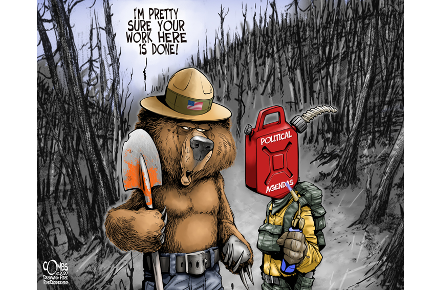In the wildland urban interface, bear ranger talking to a firefighter with a head that looks like a can of gasoline