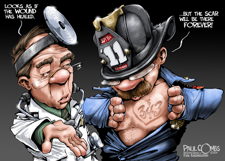 Firefighter showing a scar to doctor