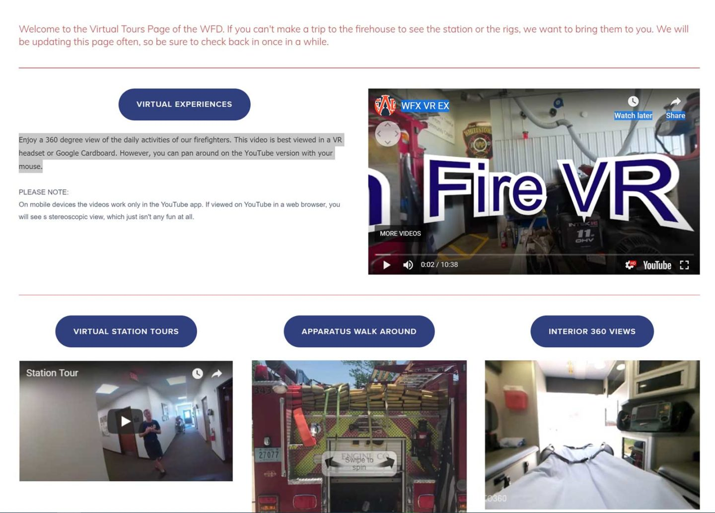 Cover of fire department Web site