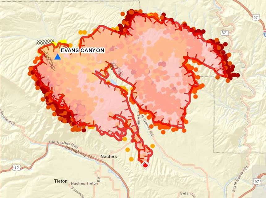Evans Canyon Fire map