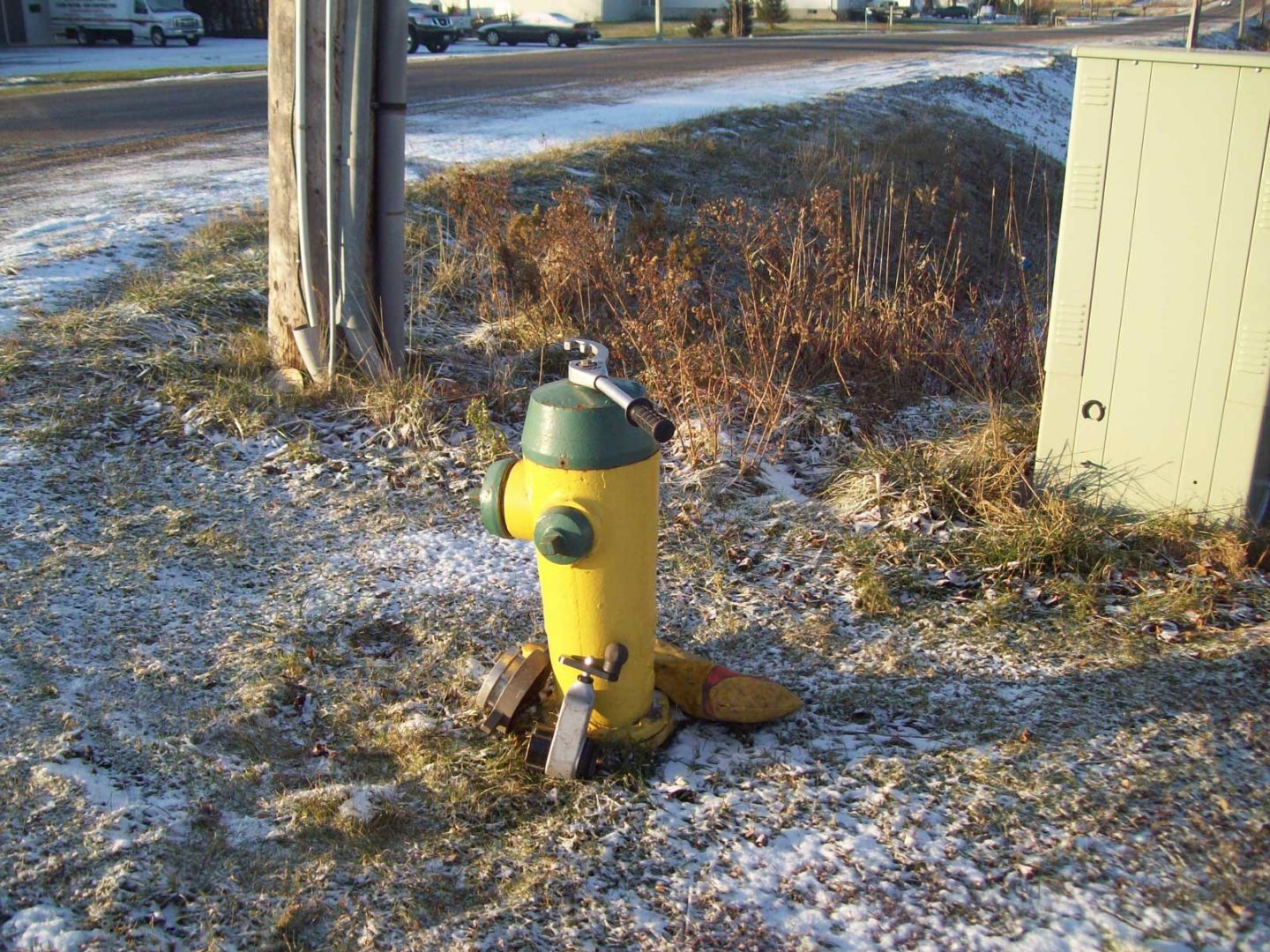 Tools staged near hydrant