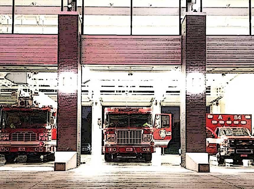 Houston fire trucks in apparatus bays
