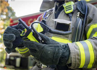 Firefighter with Motorola Radio