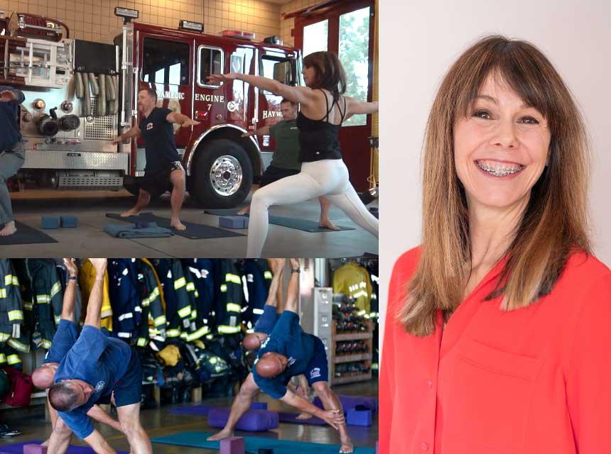 Shannon McQuaide of FireFlex Yoga training firefighters
