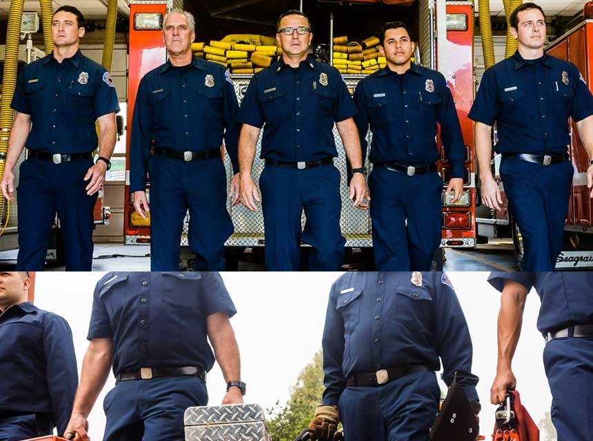 Firefighters in flame-resistant station wear