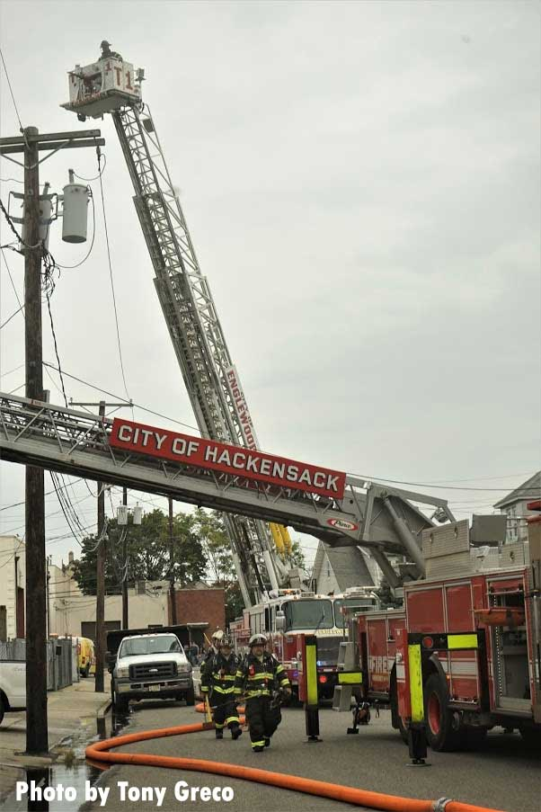 Aerial devices in use at fire