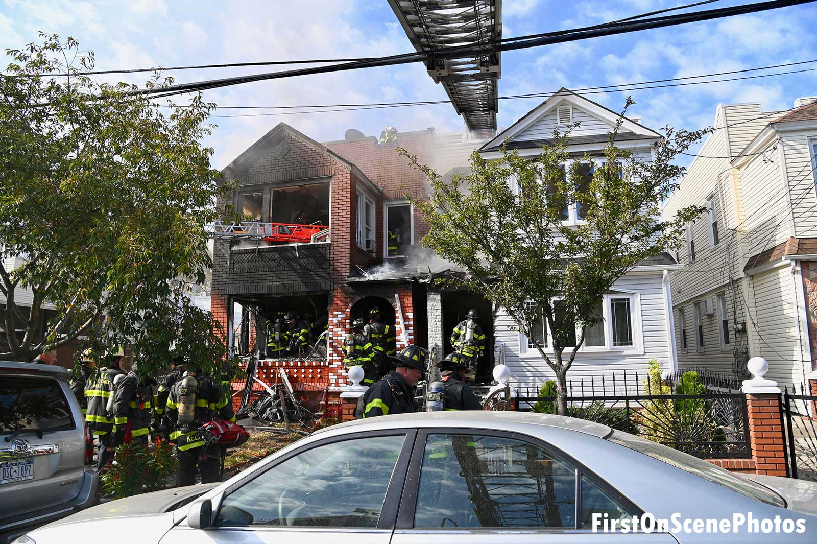 FDNY firefighters at scene of fire in Queens