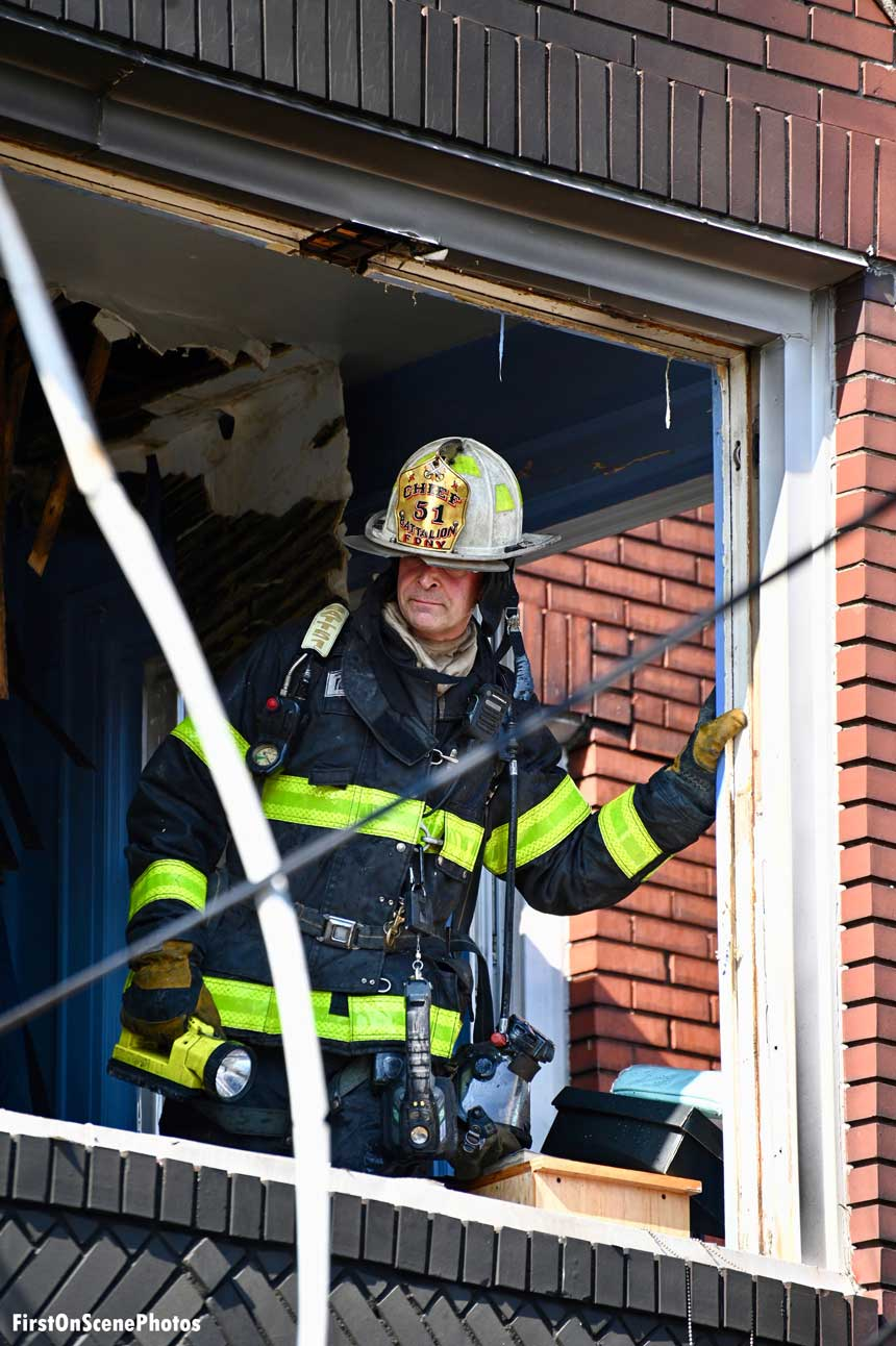 FDNY chief officer at scene of fire in Queens