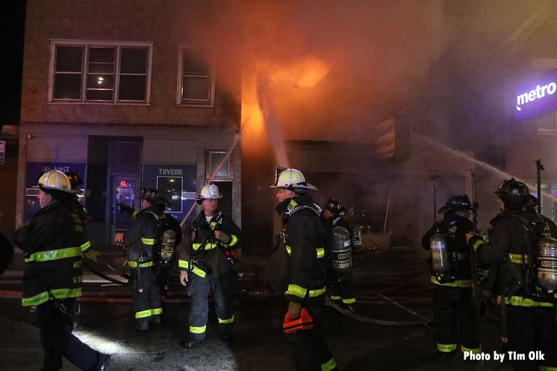 Firefighters on scene at a fire in Chicago