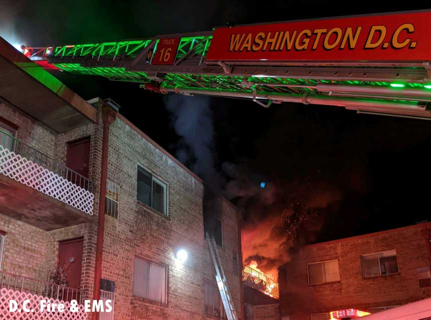 Fire showing at a D.C. apartment fire