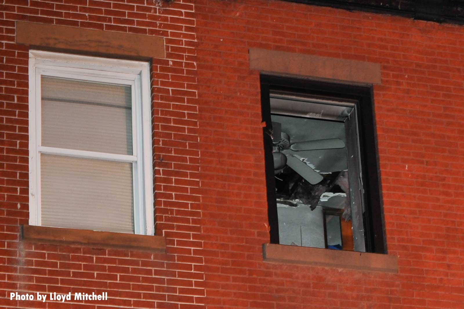 Broken window at fire scene in Brooklyn