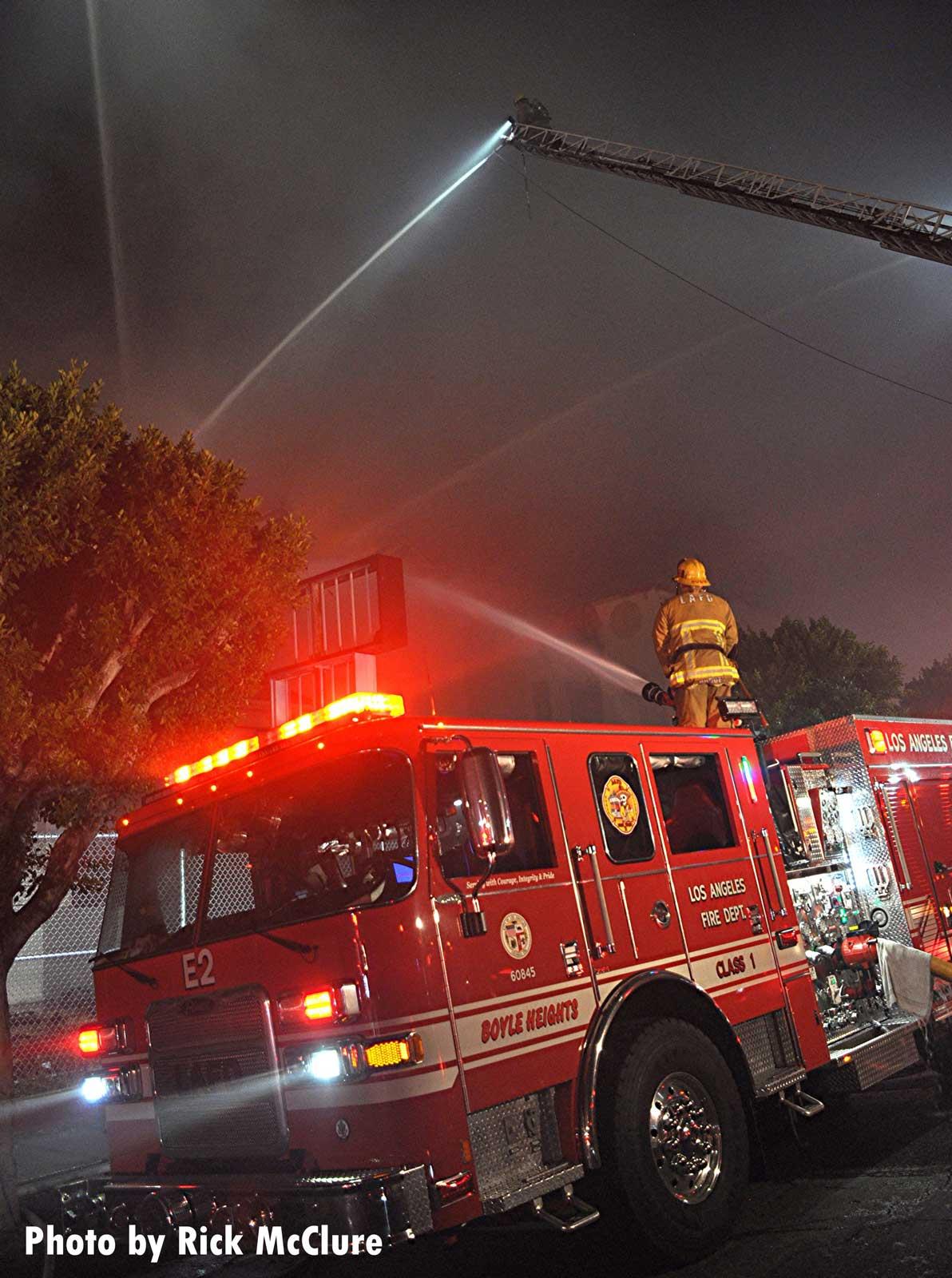 LAFD fire apparatus at the scene