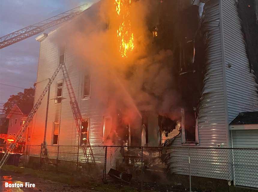 Boston firefighters battle three-alarm fire