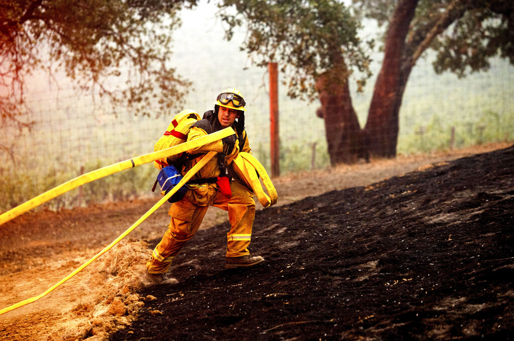 Firefighter at scene of wildland fire