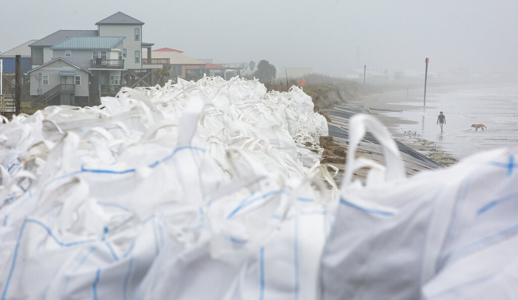 Sad bags set up in anticipation of Hurricane Delta in the Gulf region