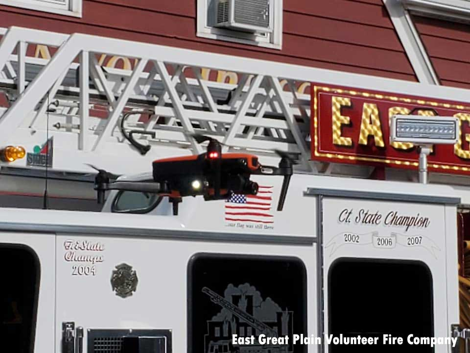 Drone in front of fire truck