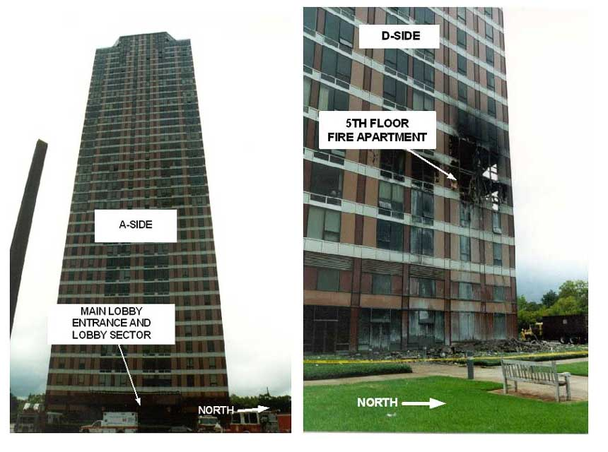Photos of exterior of Four Leaf Tower building where the incident occurred.