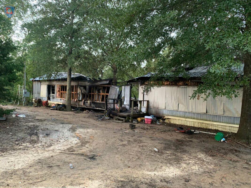 Scene of a deadly fire in Hornbeck, Louisiana