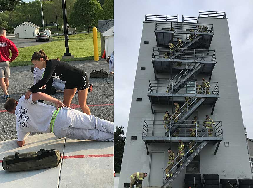 Firefighters exercising