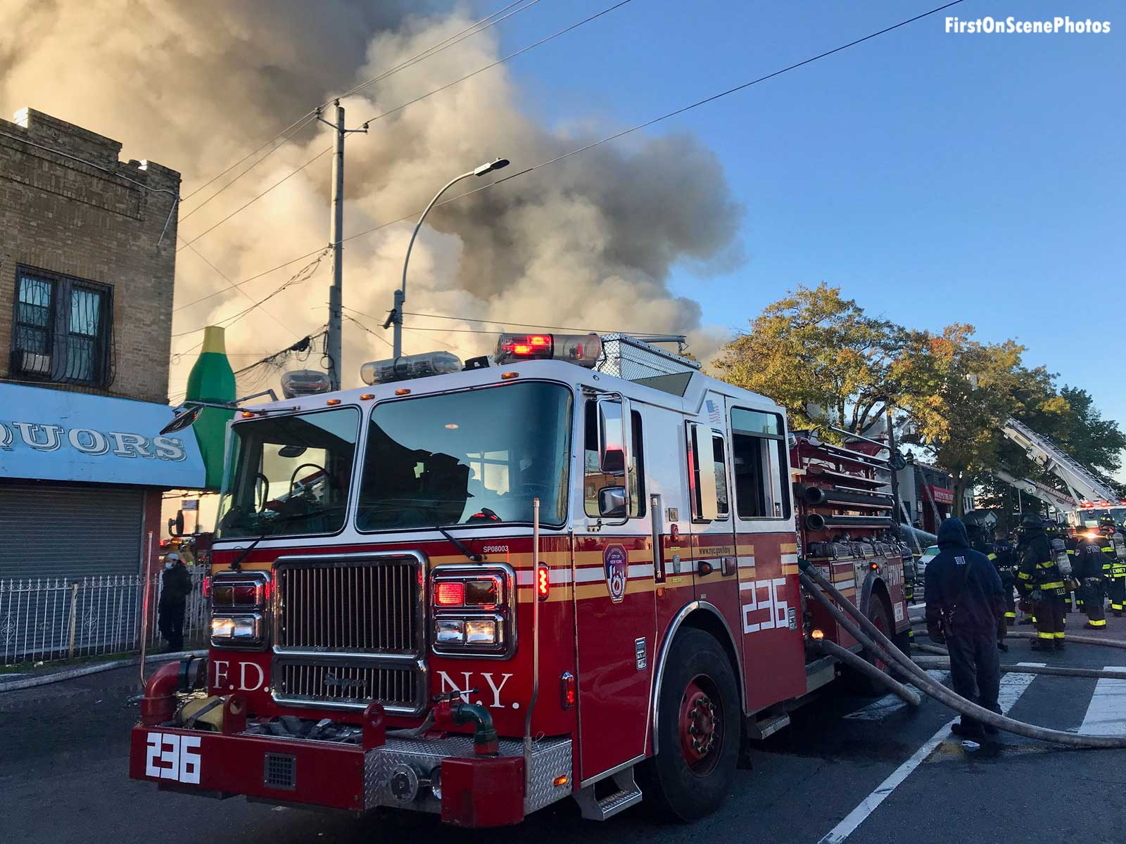 FDNY fire apparatus at the scene of a five-alarm fire in Brooklyn