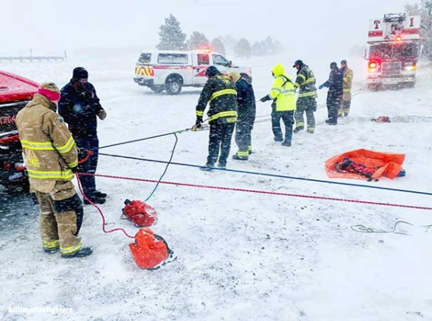 Billings firefighters operate during an ice rescue