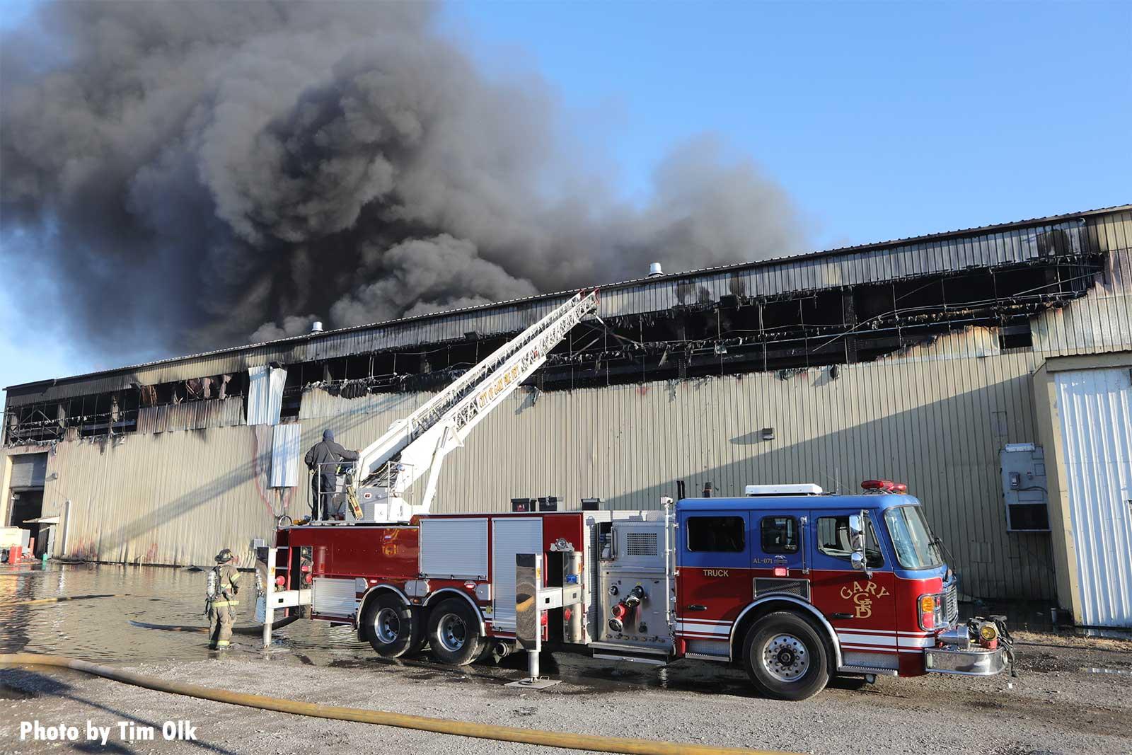 Billowing smoke at recycling facility