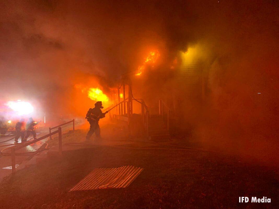 Firefighter battles raging flames in a Beech Grove home