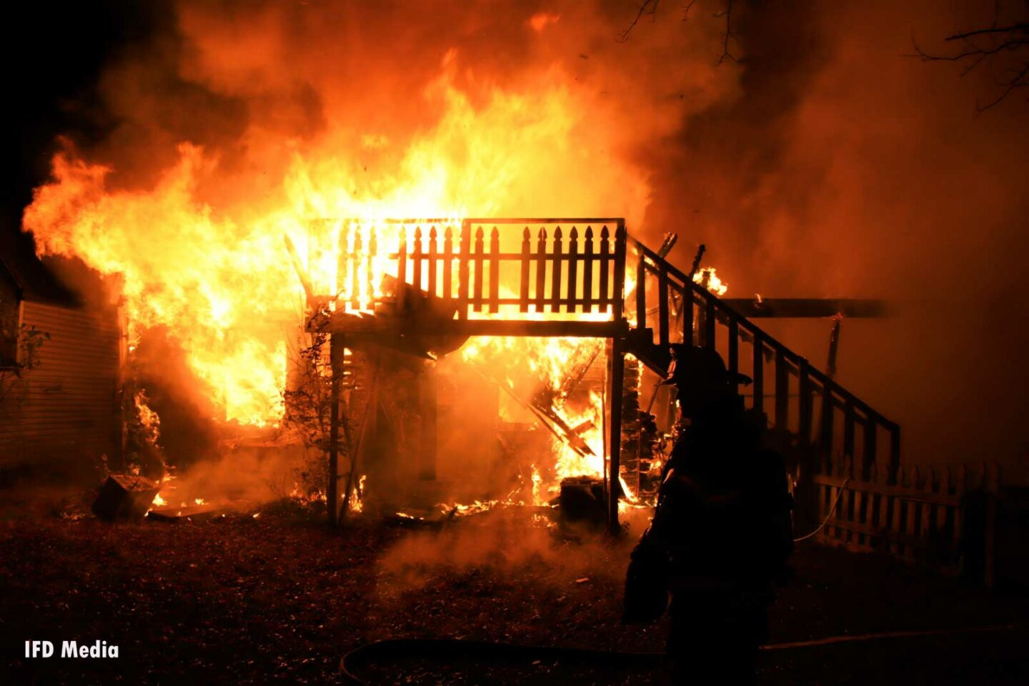 Flames rage through a home in Indiana