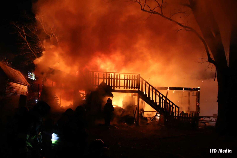 Flames blaze through the structure