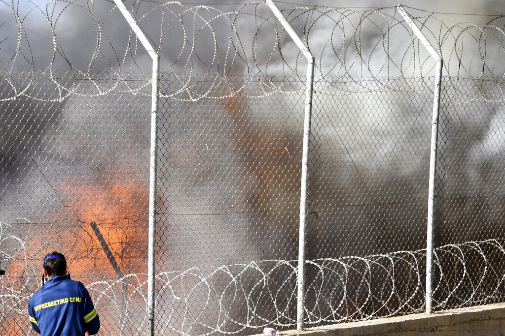 Fire in Greek refugee camp