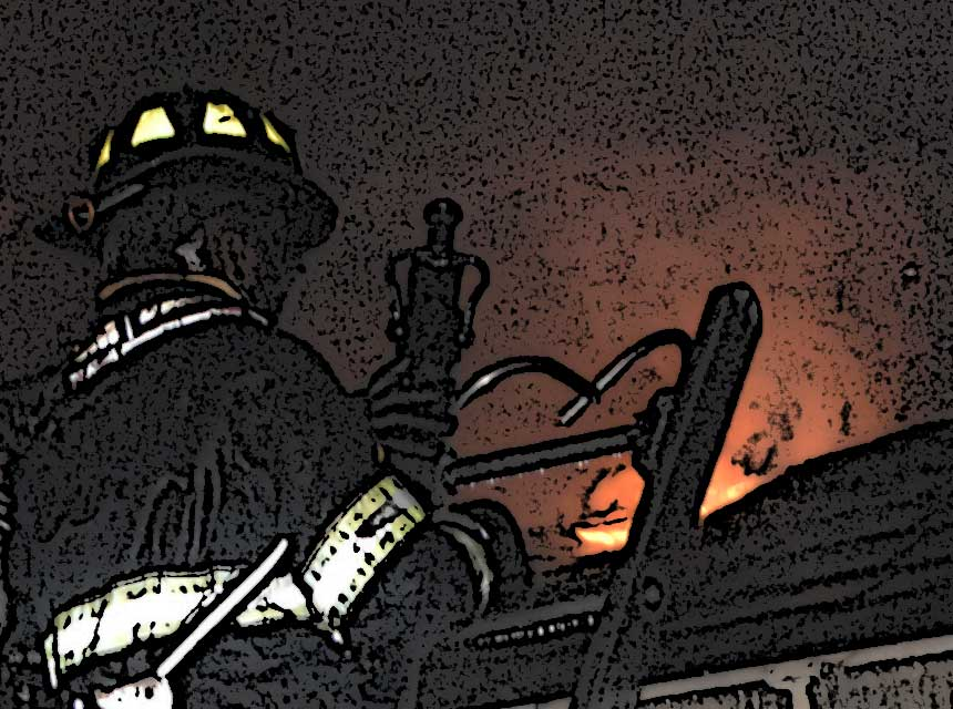 A firefighter on a ladder with a hoseline and flames in the background